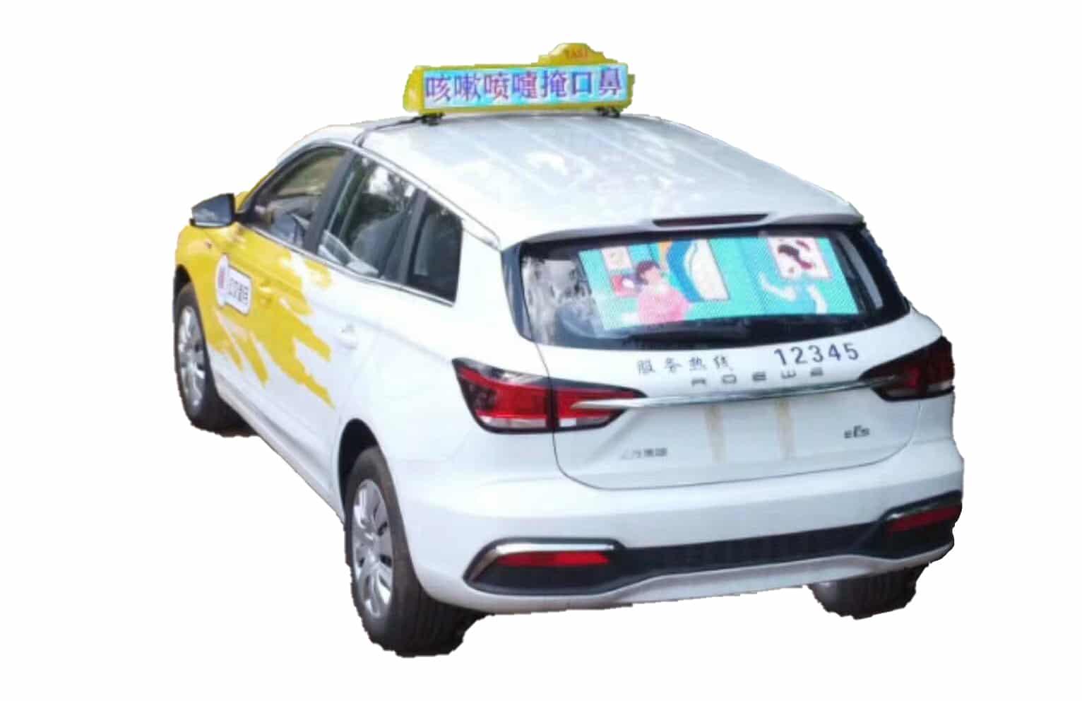 Transparent Taxi Rear Window LED Display